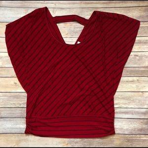 Studio Y Tops - Studio Y Red Poncho Style Top with Black stripes